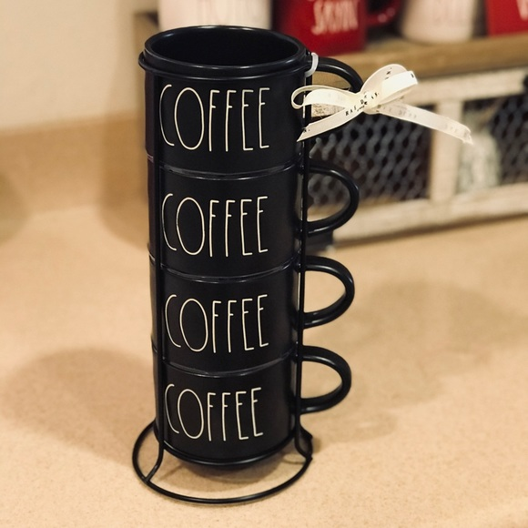 rae dunn black stacking coffee mugs with rack